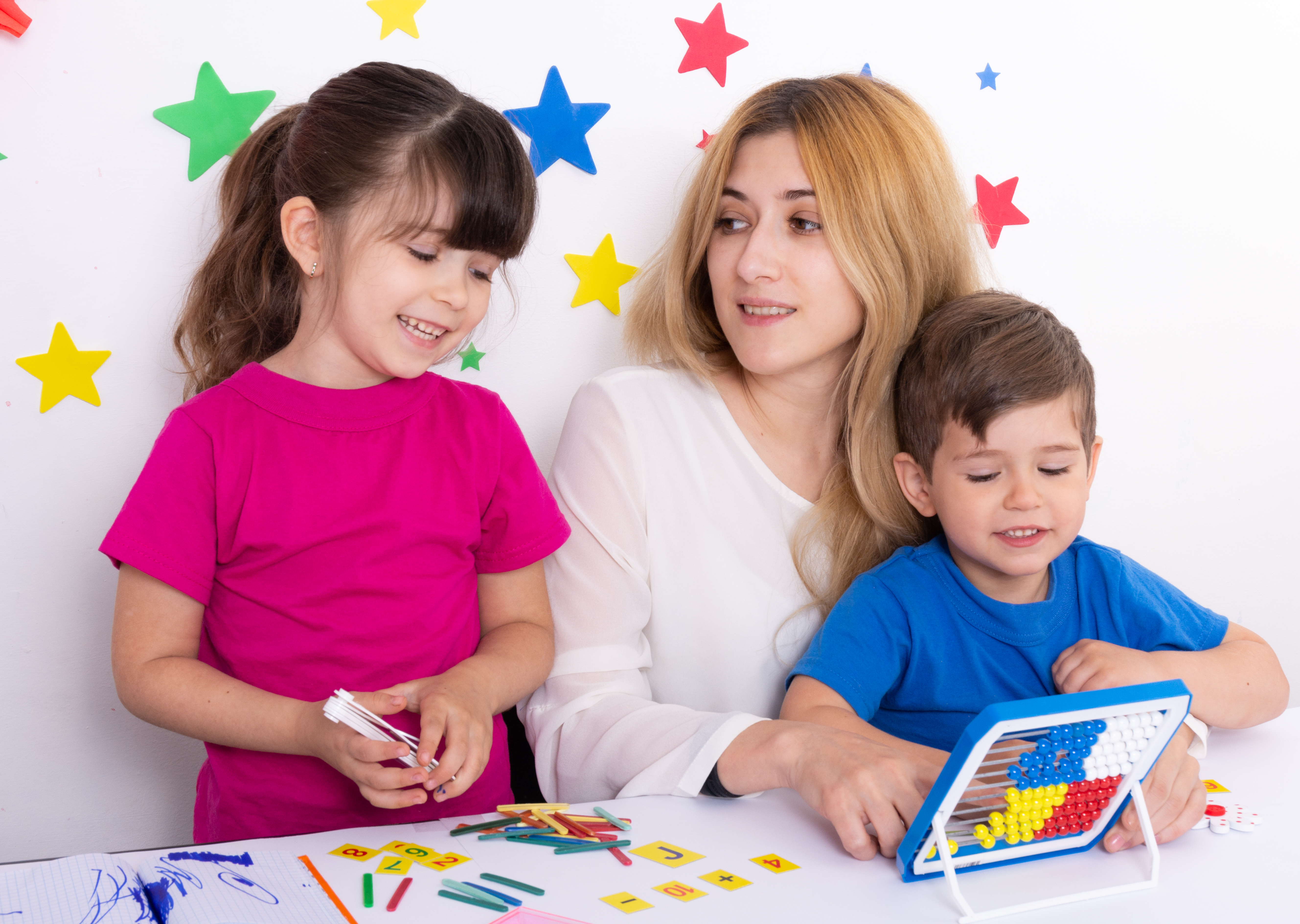 Mother and Children Counting and Coloring